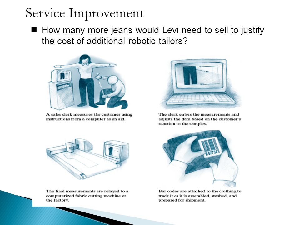 Service Improvement How many more jeans would Levi need to sell to justify the cost of additional robotic tailors?