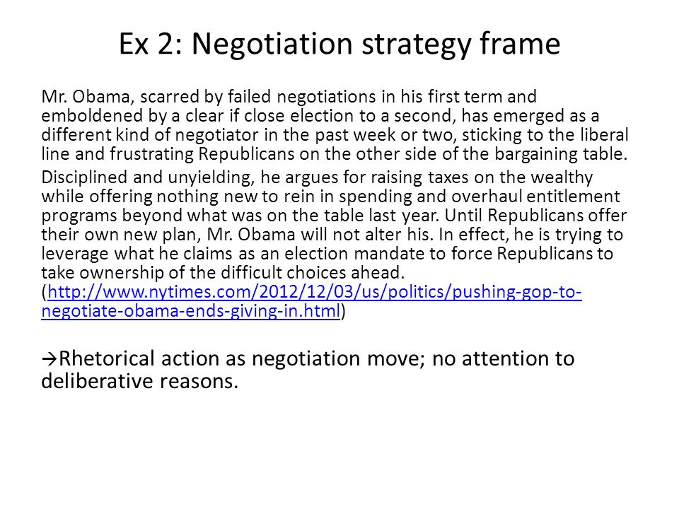 Ex 2: Negotiation strategy frame Mr.