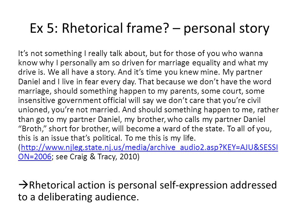 Ex 5: Rhetorical frame.