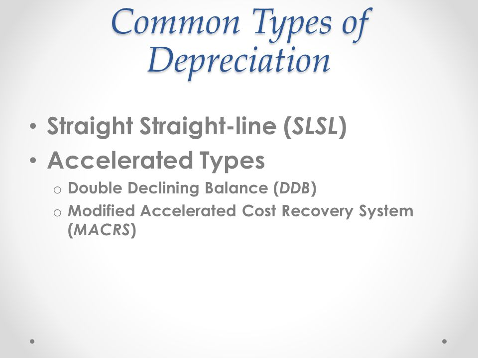 Straight-line method Most common methods that businesses use is straight-line depreciation.