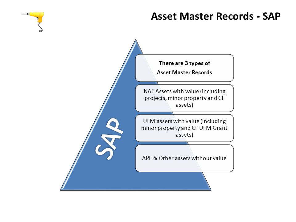 There are 3 types of Asset Master Records NAF Assets with value (including projects, minor property and CF assets) UFM assets with value (including minor property and CF UFM Grant assets) APF & Other assets without value