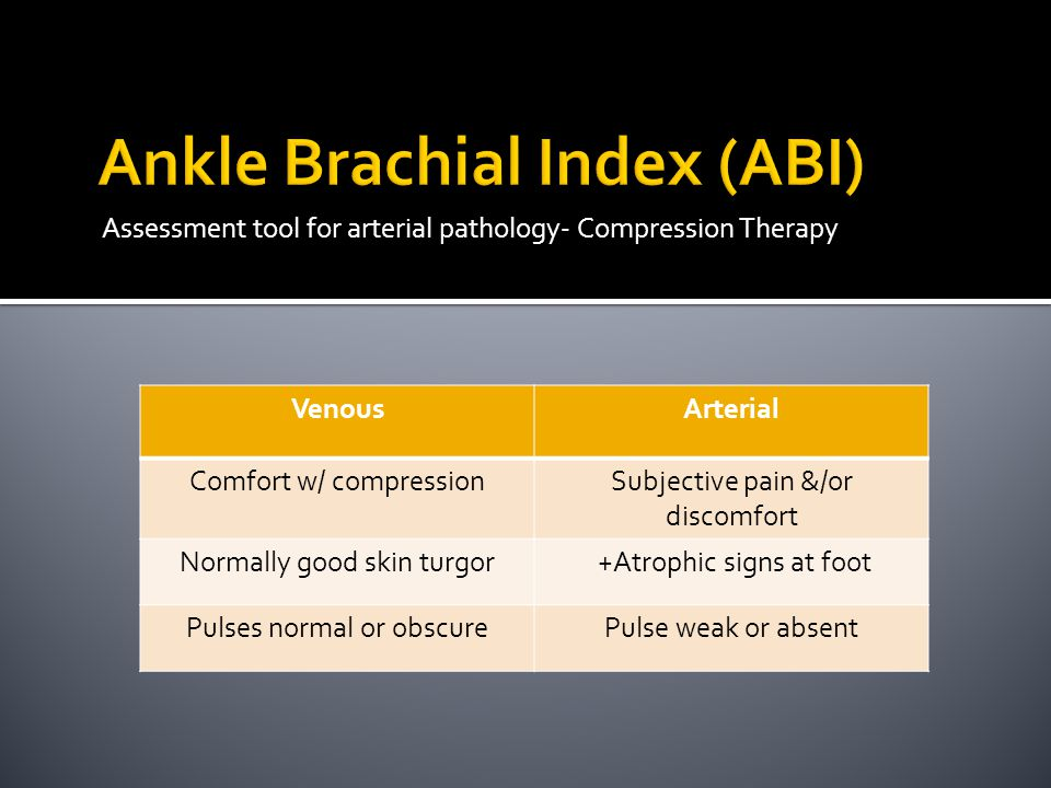 Assessment tool for arterial pathology- Compression Therapy VenousArterial Comfort w/ compressionSubjective pain &/or discomfort Normally good skin turgor +Atrophic signs at foot Pulses normal or obscurePulse weak or absent
