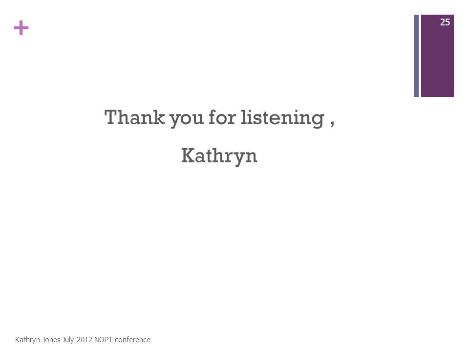 + Thank you for listening, Kathryn Kathryn Jones July 2012 NOPT conference 25