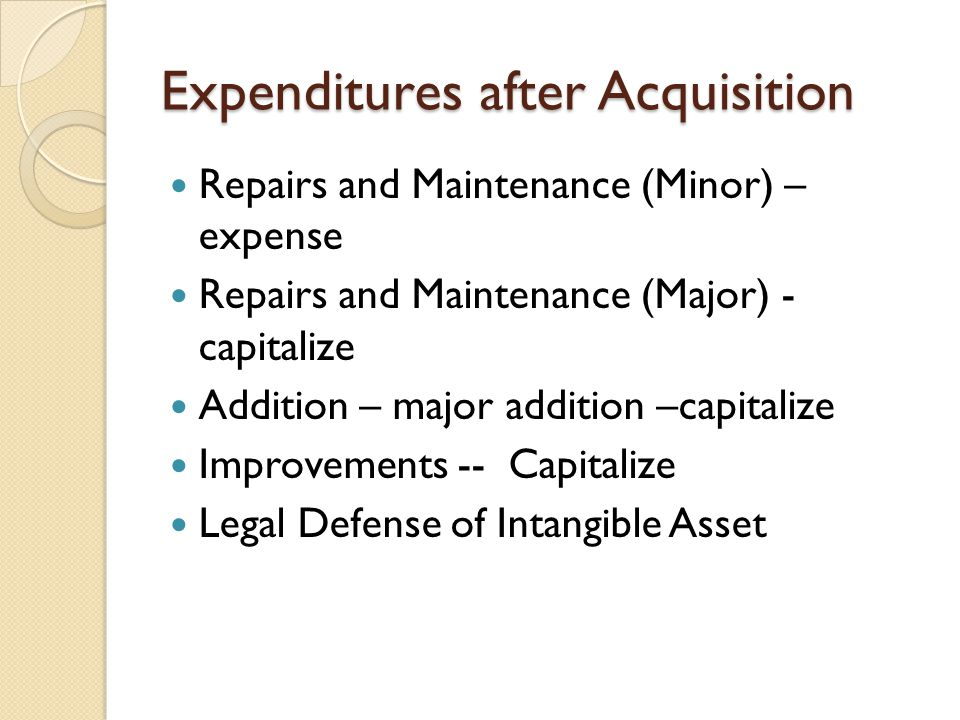 Expenditures after Acquisition Repairs and Maintenance (Minor) – expense Repairs and Maintenance (Major) - capitalize Addition – major addition –capit