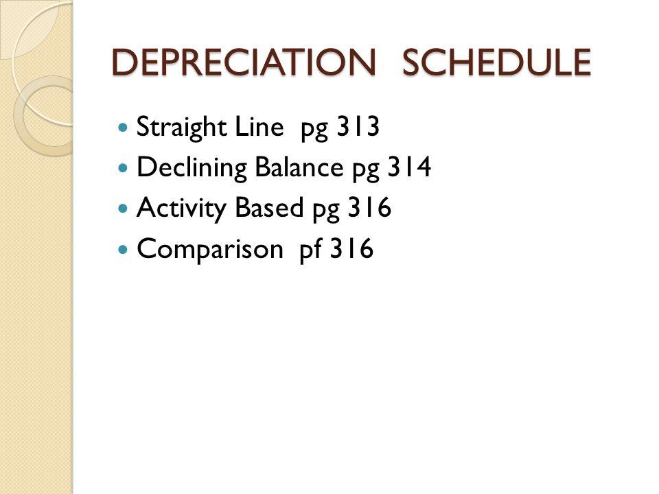 DEPRECIATION SCHEDULE Straight Line pg 313 Declining Balance pg 314 Activity Based pg 316 Comparison pf 316