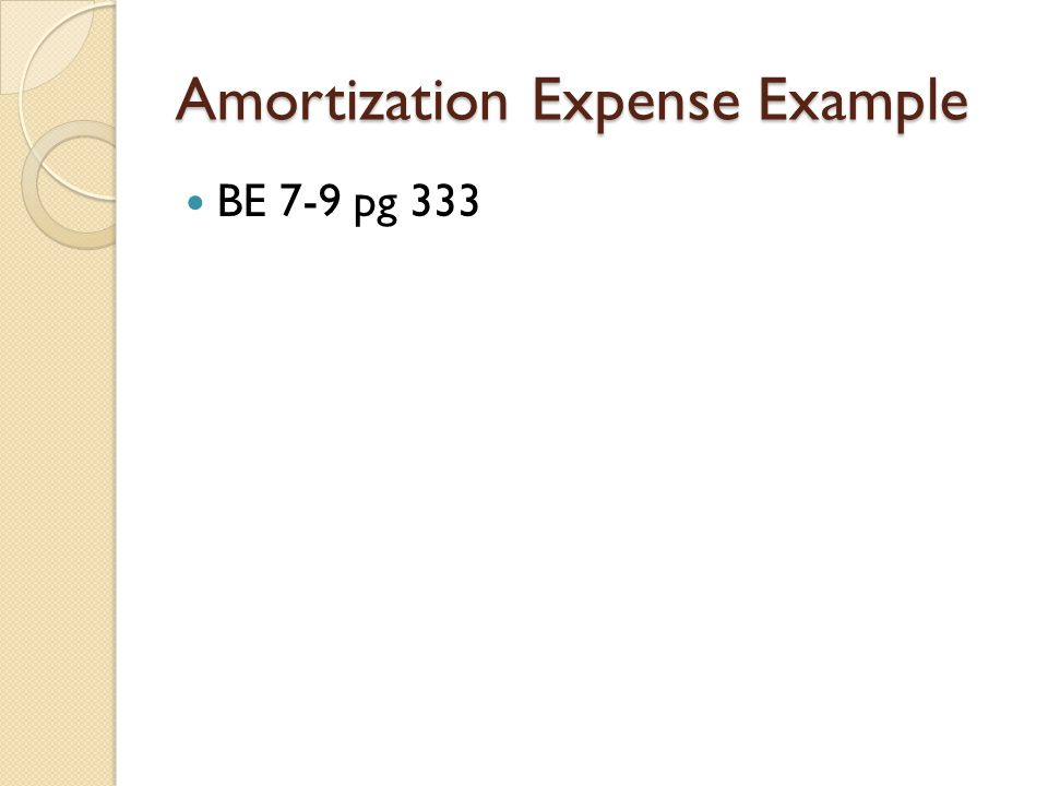 Amortization Expense Example BE 7-9 pg 333