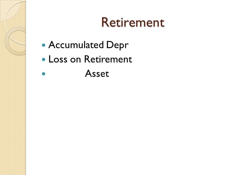 Retirement Accumulated Depr Loss on Retirement Asset