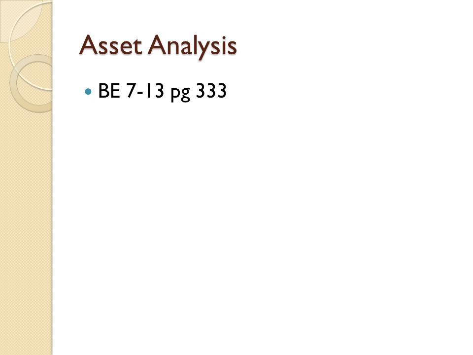 Asset Analysis BE 7-13 pg 333