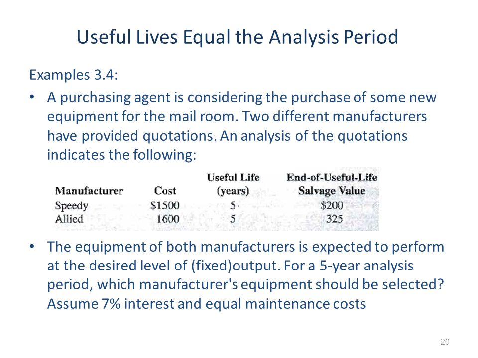 Useful Lives Equal the Analysis Period Examples 3.4: A purchasing agent is considering the purchase of some new equipment for the mail room. Two diffe