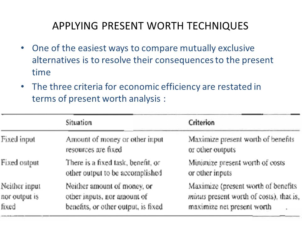 APPLYING PRESENT WORTH TECHNIQUES One of the easiest ways to compare mutually exclusive alternatives is to resolve their consequences to the present t