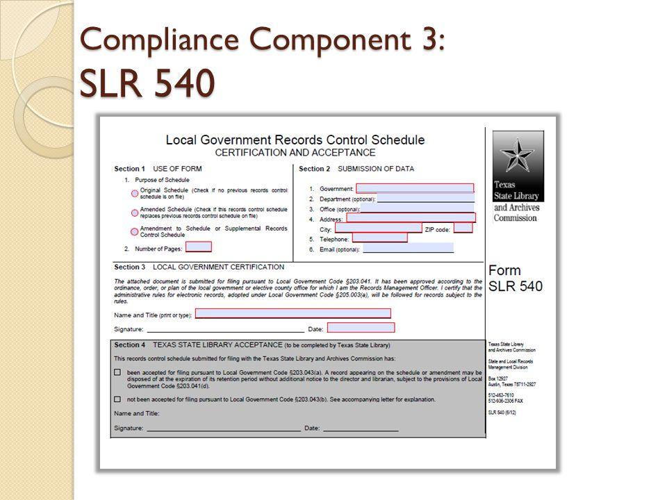 Compliance Component 3: SLR 540