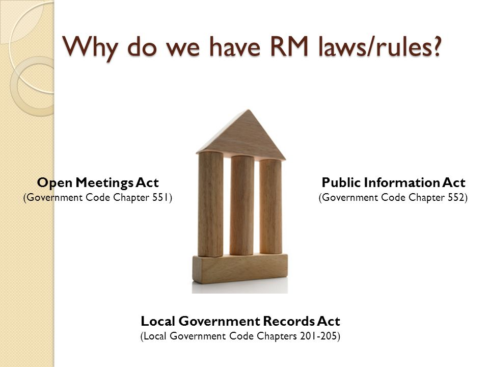 Local Government Records Act Elected County Offices are responsible for: ◦ Records Management Officer for records of the officer's office ◦ Develop policies & procedures for an active and continuing records management program ◦ Administer program to reduce costs ◦ Preserve records of permanent value ◦ Protect essential records ◦ Ensure proper maintenance, preservation, microfilming, destruction, disposition of records Title 6.