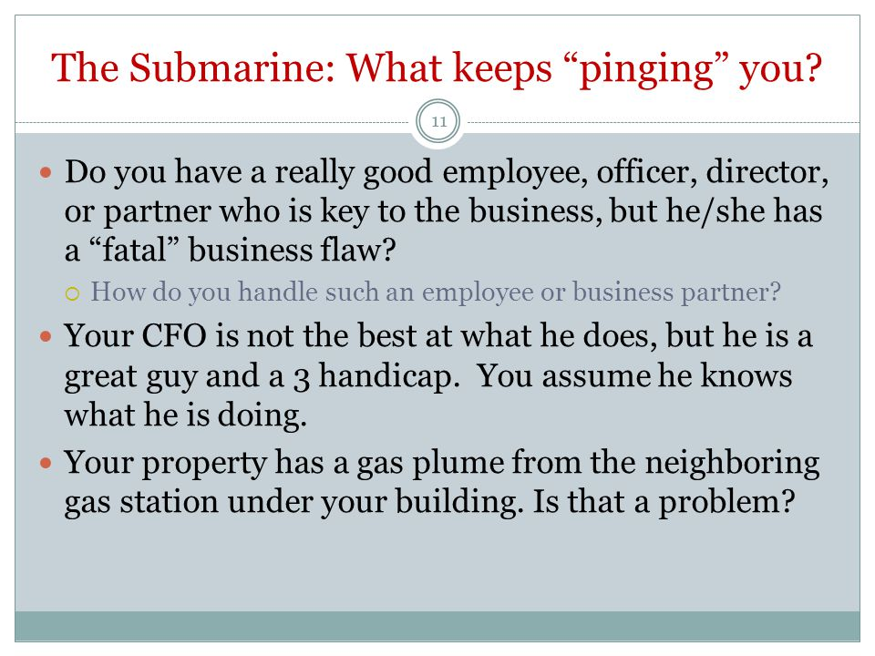 The Submarine: What keeps pinging you.