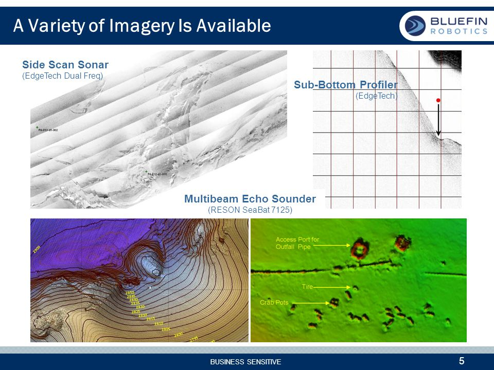 BUSINESS SENSITIVE 5 A Variety of Imagery Is Available Side Scan Sonar (EdgeTech Dual Freq) Sub-Bottom Profiler (EdgeTech) All Imagery Courtesy of Fugro Seafloor Surveys, Inc.
