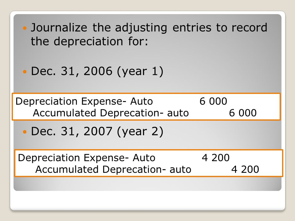 Journalize the adjusting entries to record the depreciation for: Dec.