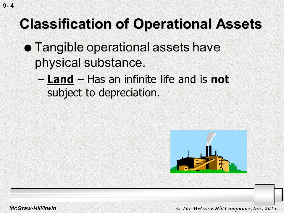 McGraw-Hill/Irwin © The McGraw-Hill Companies, Inc., 2015 9- 4 Classification of Operational Assets l Tangible operational assets have physical substance.