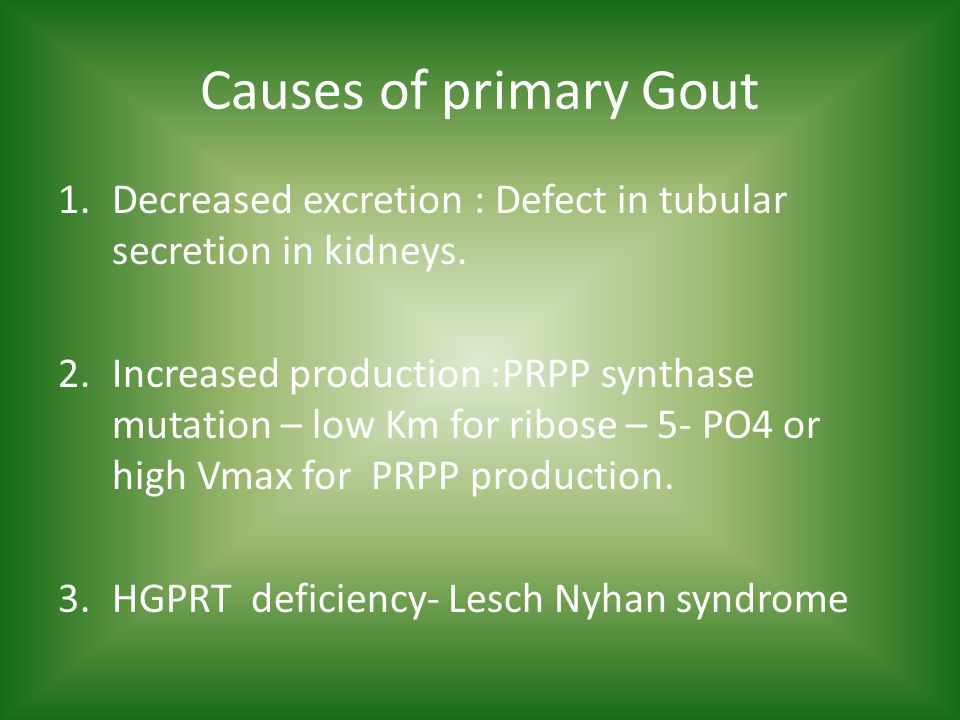 Causes of primary Gout 1.Decreased excretion : Defect in tubular secretion in kidneys.