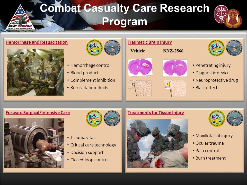 Combat Casualty Care Research Program Hemorrhage and Resuscitation Hemorrhage control Blood products Complement inhibition Resuscitation fluids Hemorr