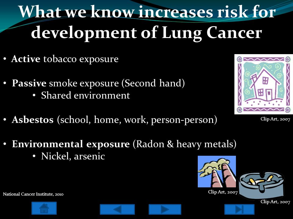 What we know increases risk for development of Lung Cancer Active tobacco exposure Passive smoke exposure (Second hand) Shared environment Asbestos (s