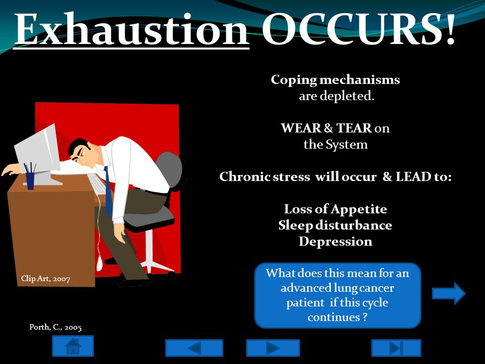 Exhaustion OCCURS! Coping mechanisms are depleted. WEAR & TEAR on the System Chronic stress will occur & LEAD to: Loss of Appetite Sleep disturbance D