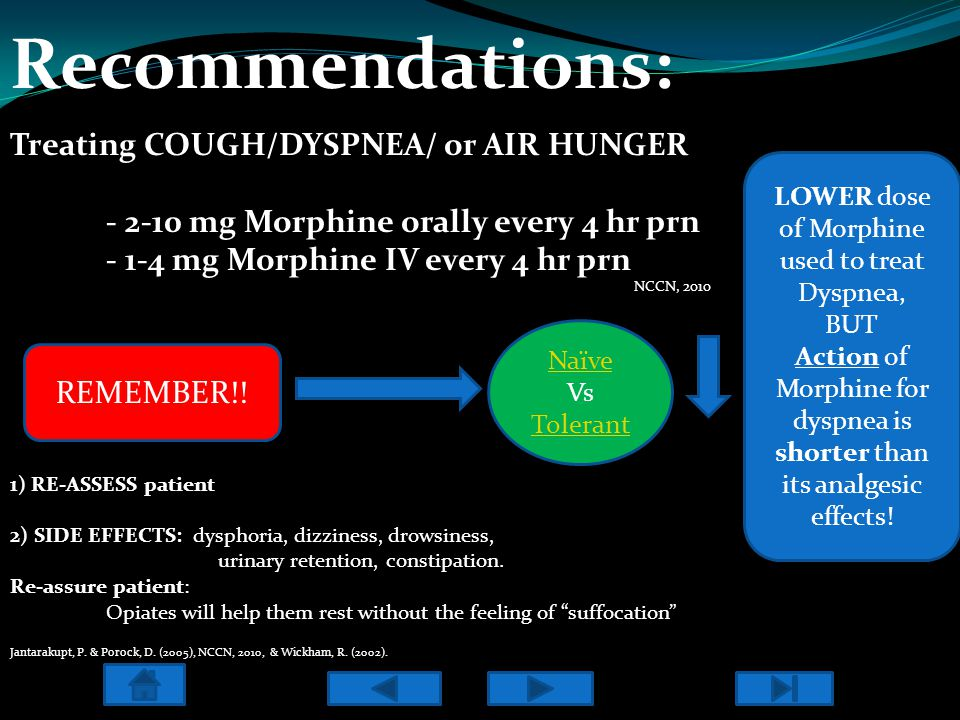 Recommendations: Treating COUGH/DYSPNEA/ or AIR HUNGER - 2-10 mg Morphine orally every 4 hr prn - 1-4 mg Morphine IV every 4 hr prn 1) RE-ASSESS patient 2) SIDE EFFECTS: dysphoria, dizziness, drowsiness, urinary retention, constipation.