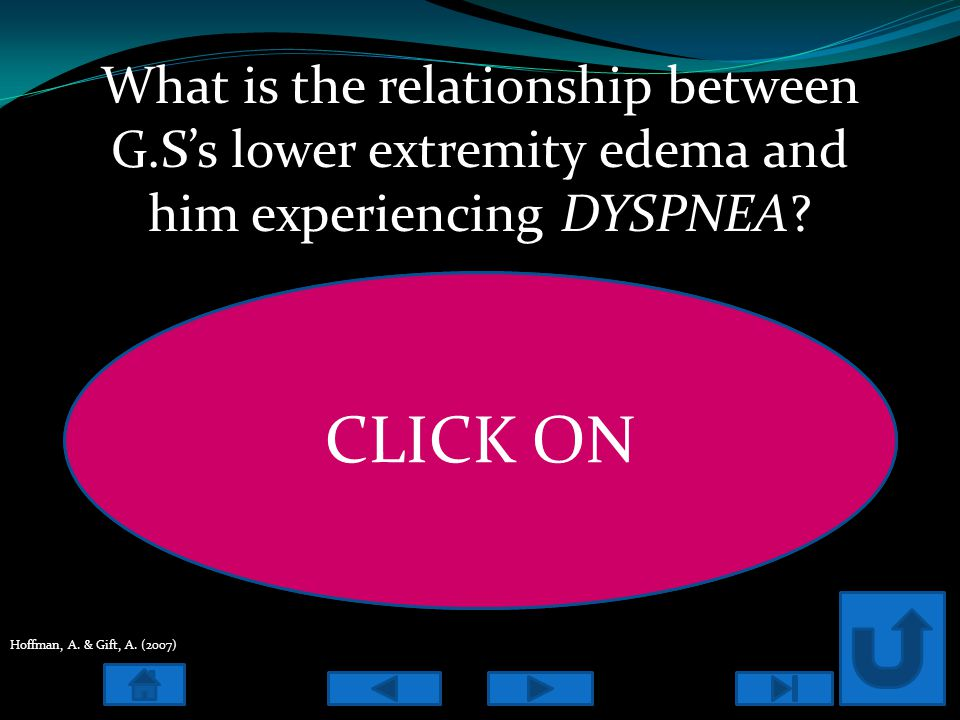 What is the relationship between G.S's lower extremity edema and him experiencing DYSPNEA.
