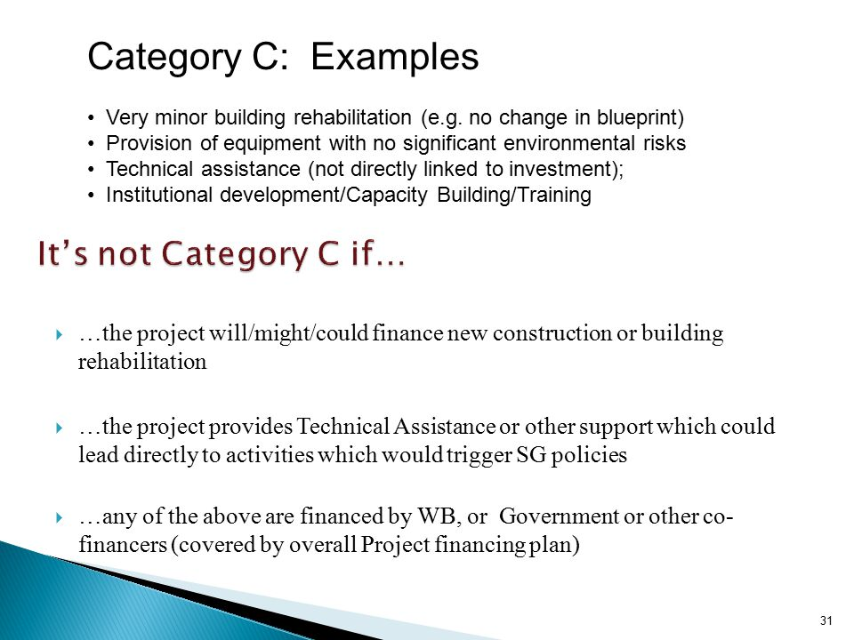Category C: Examples Very minor building rehabilitation (e.g.