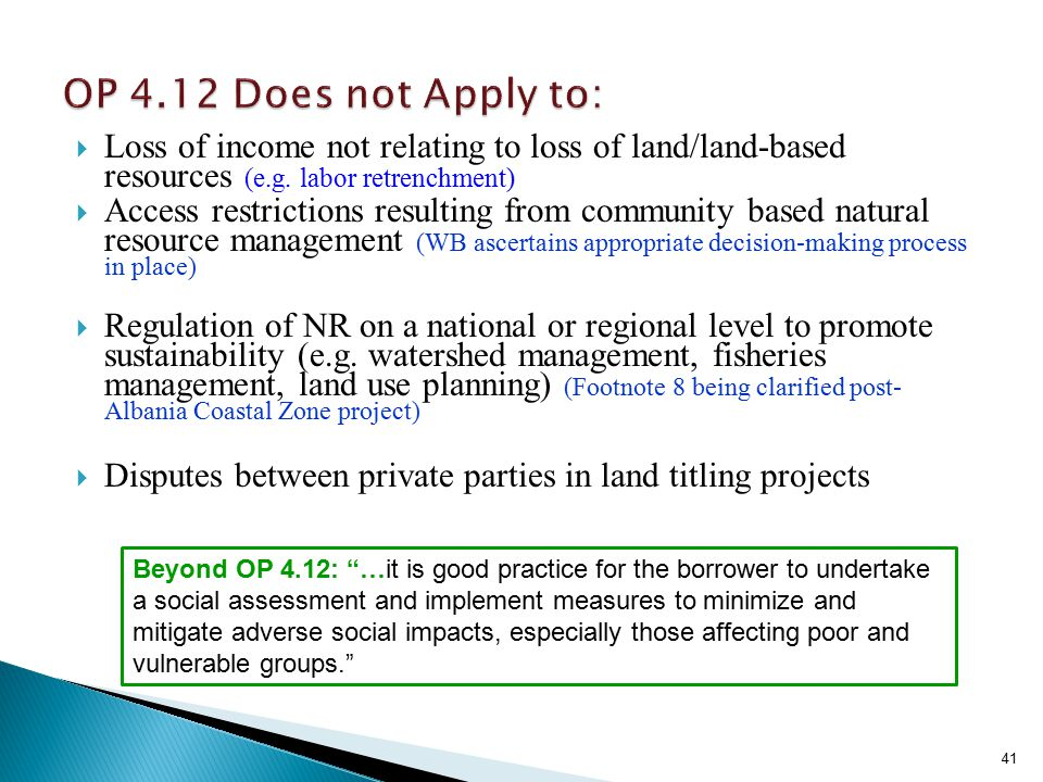  Loss of income not relating to loss of land/land-based resources (e.g.