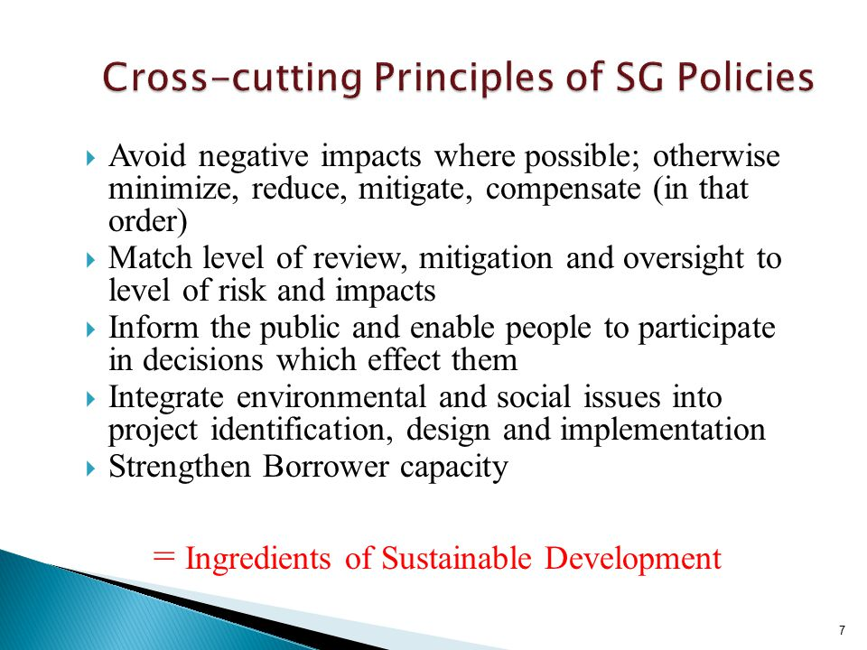  To inform decision makers of the nature of environmental and social risks  To ensure that projects proposed for Bank financing are environmentally and socially sound and sustainable (promote positive impacts, avoid/mitigate negative impacts)  To increase transparency and provide mechanism for participation of stakeholders in the decision-making process for the project 8