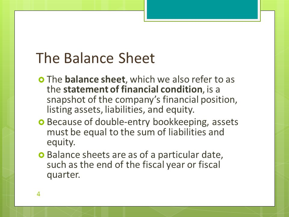  The balance sheet, which we also refer to as the statement of financial condition, is a snapshot of the company's financial position, listing assets, liabilities, and equity.
