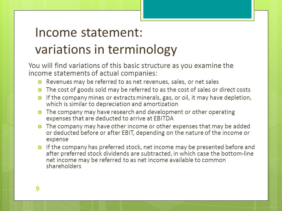 Income statement example 10