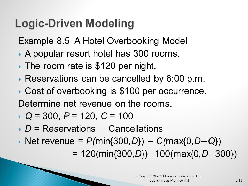 Example 8.5 A Hotel Overbooking Model  A popular resort hotel has 300 rooms.