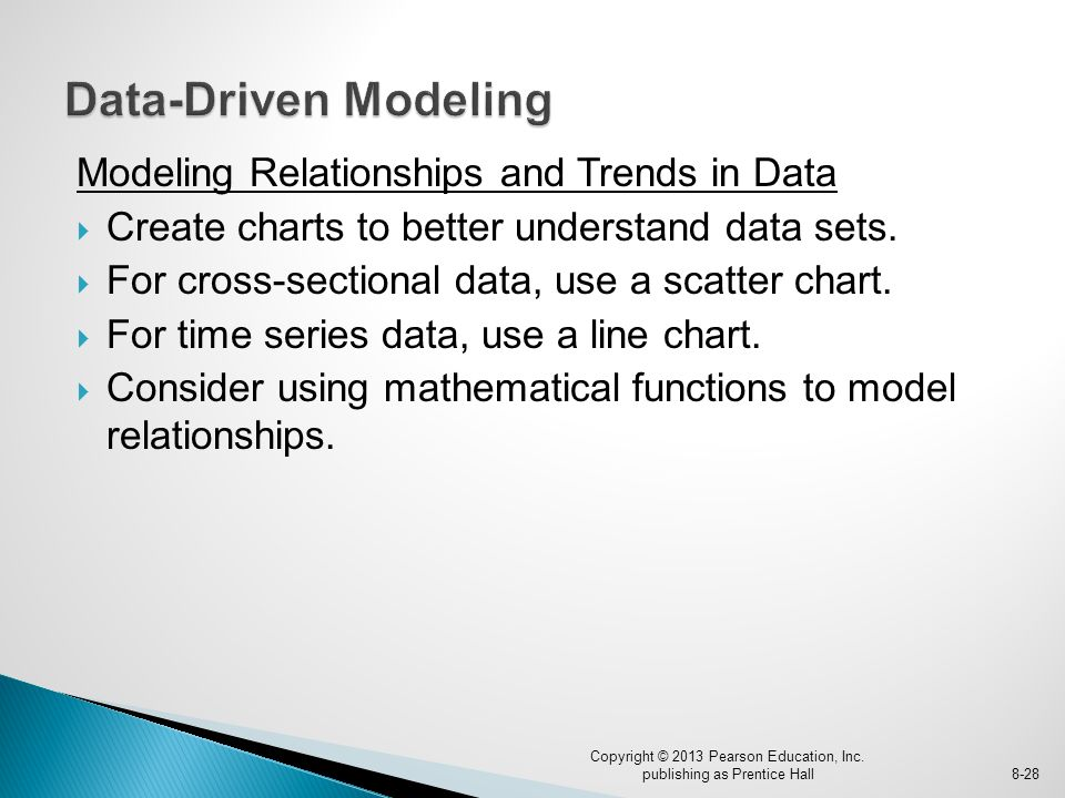 Modeling Relationships and Trends in Data  Create charts to better understand data sets.