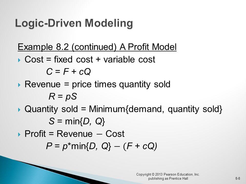 Example 8.2 (continued) A Profit Model  Cost = fixed cost + variable cost C = F + cQ  Revenue = price times quantity sold R = pS  Quantity sold = Minimum{demand, quantity sold} S = min{D, Q}  Profit = Revenue − Cost P = p*min{D, Q} − ( F + cQ) Copyright © 2013 Pearson Education, Inc.