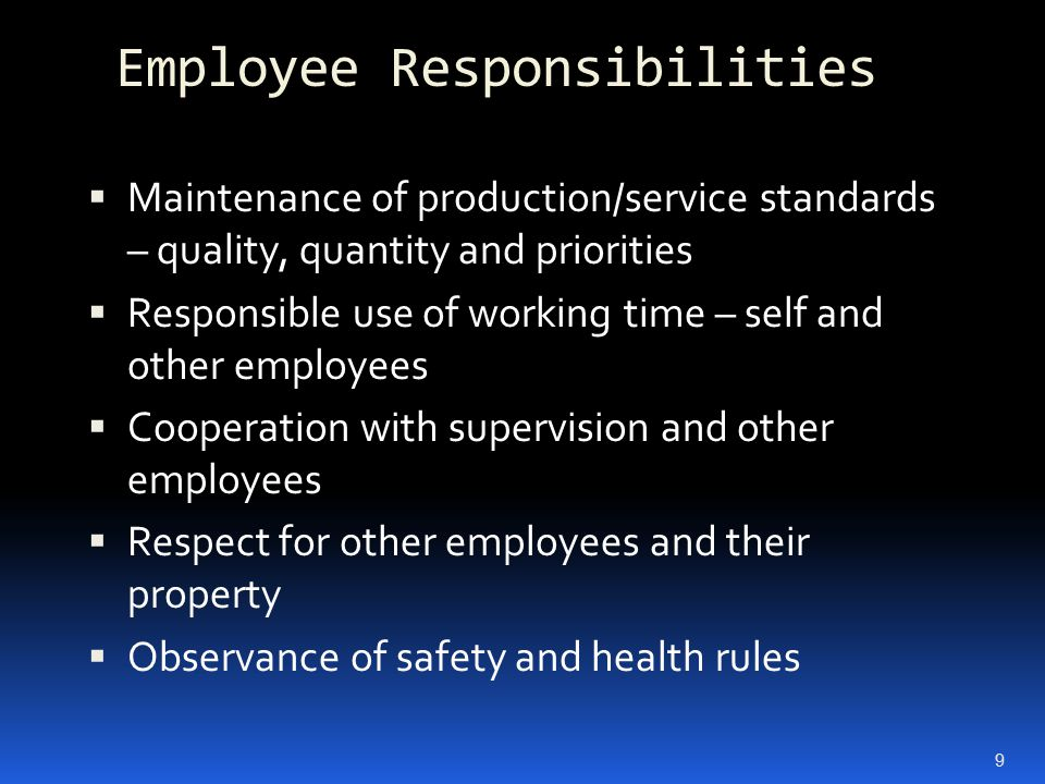 Employee Responsibilities  Maintenance of production/service standards – quality, quantity and priorities  Responsible use of working time – self an