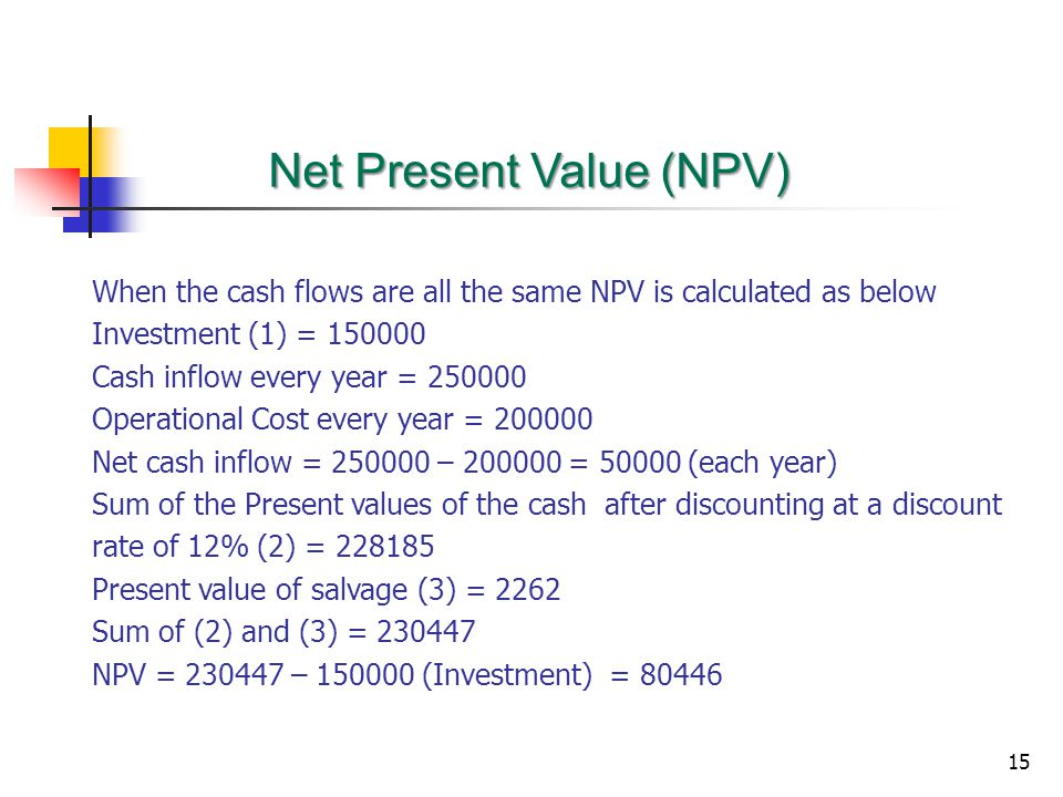 15 When the cash flows are all the same NPV is calculated as below Investment (1) = 150000 Cash inflow every year = 250000 Operational Cost every year = 200000 Net cash inflow = 250000 – 200000 = 50000 (each year) Sum of the Present values of the cash after discounting at a discount rate of 12% (2) = 228185 Present value of salvage (3) = 2262 Sum of (2) and (3) = 230447 NPV = 230447 – 150000 (Investment) = 80446 Net Present Value (NPV)