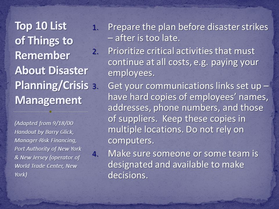 Enter data into the online template to create a customized disaster plan for your institution. This plan will help you: prevent or mitigate disasters,