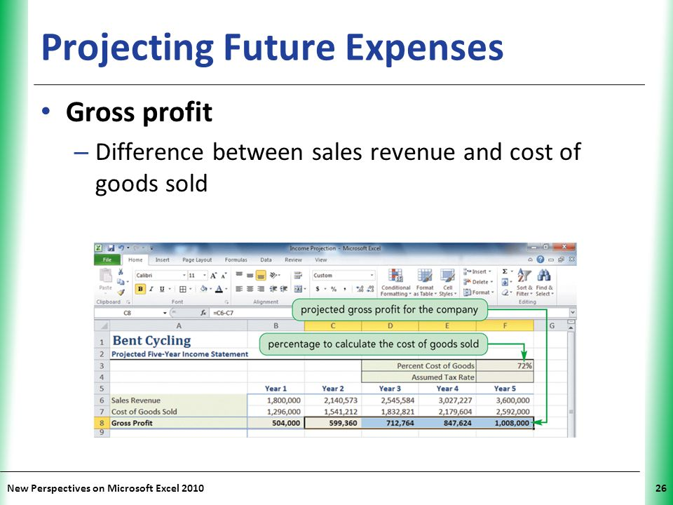 XP New Perspectives on Microsoft Excel 201026 Projecting Future Expenses Gross profit – Difference between sales revenue and cost of goods sold