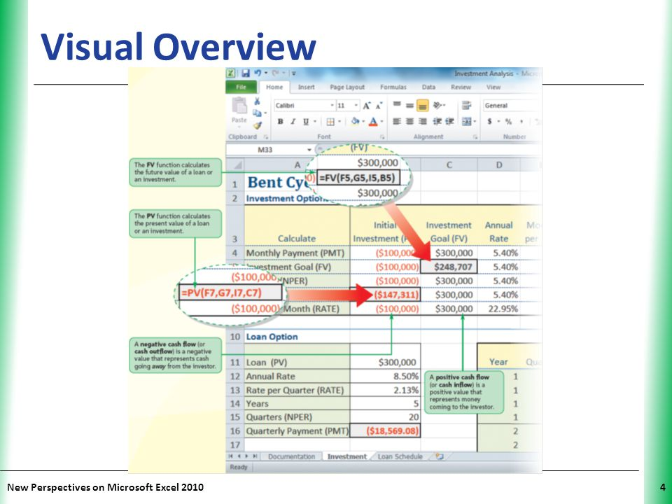 XP New Perspectives on Microsoft Excel 201035 Visual Overview