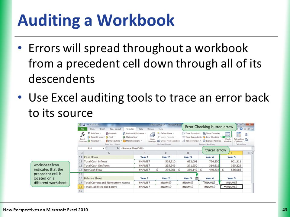 XP New Perspectives on Microsoft Excel 201043 Auditing a Workbook Errors will spread throughout a workbook from a precedent cell down through all of its descendents Use Excel auditing tools to trace an error back to its source