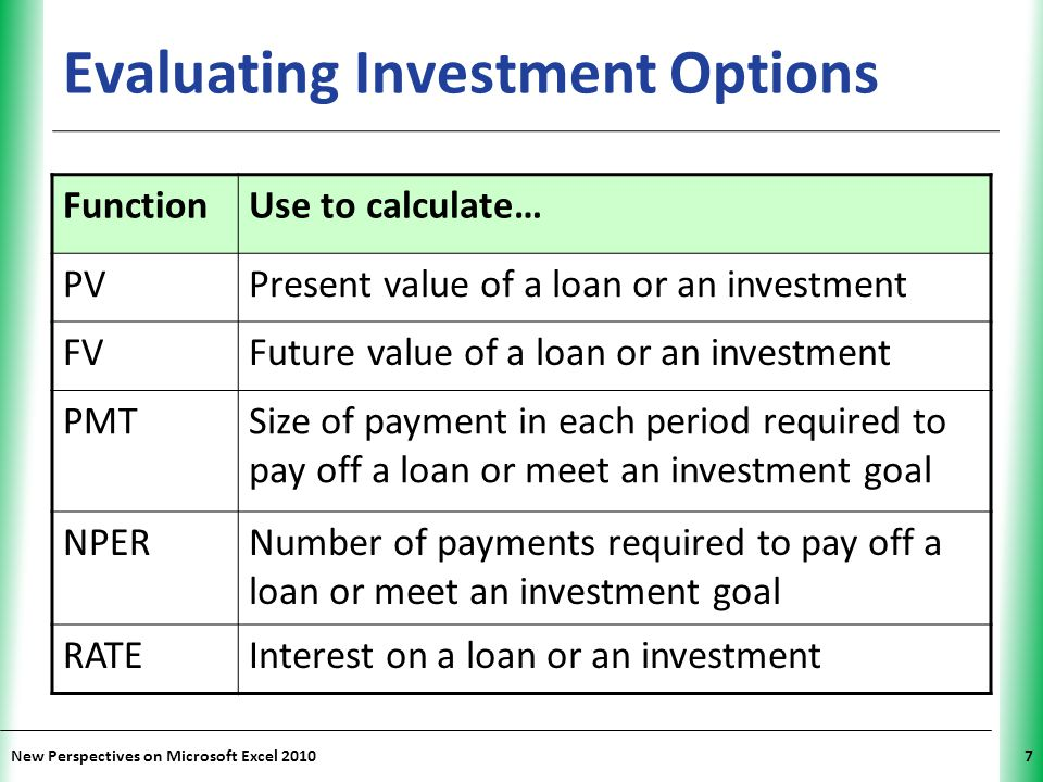 XP New Perspectives on Microsoft Excel 201038 Calculating Net Present Value Time value of money – Money received today is worth more than same amount received later (invest and earn interest) Rate of return (or discount rate) – Interest rate applied to present funds – Defines time value of money by measuring future dollars in terms of current dollars