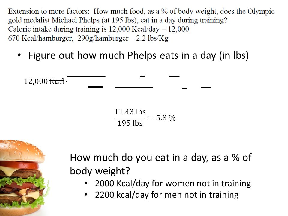 Figure out how much Phelps eats in a day (in lbs) How much do you eat in a day, as a % of body weight.