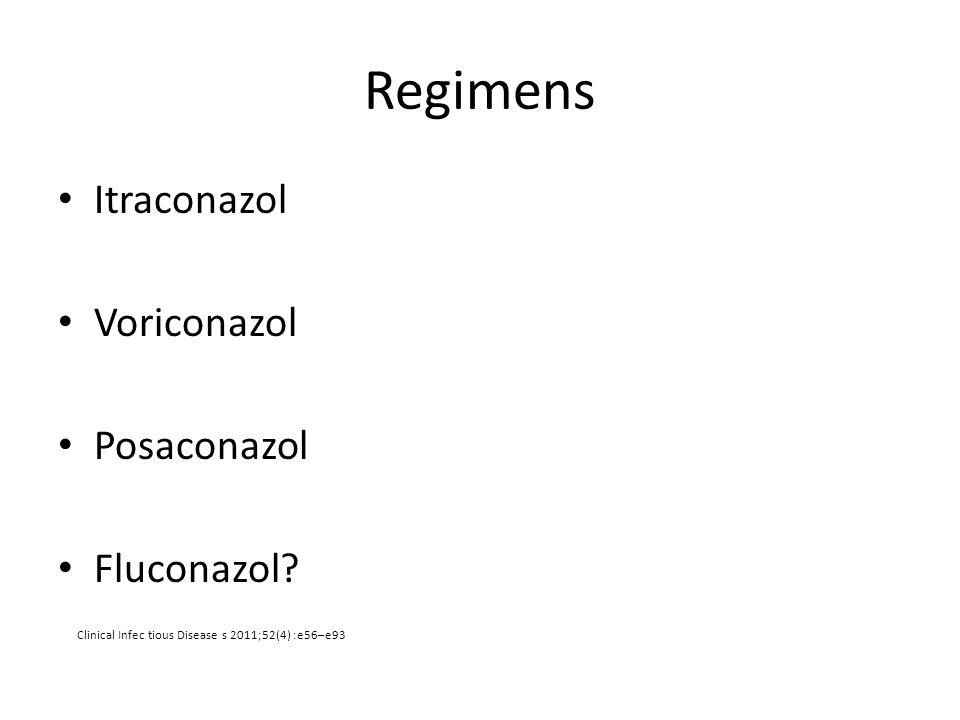 Regimens Itraconazol Voriconazol Posaconazol Fluconazol? Clinical Infec tious Disease s 2011;52(4) :e56–e93