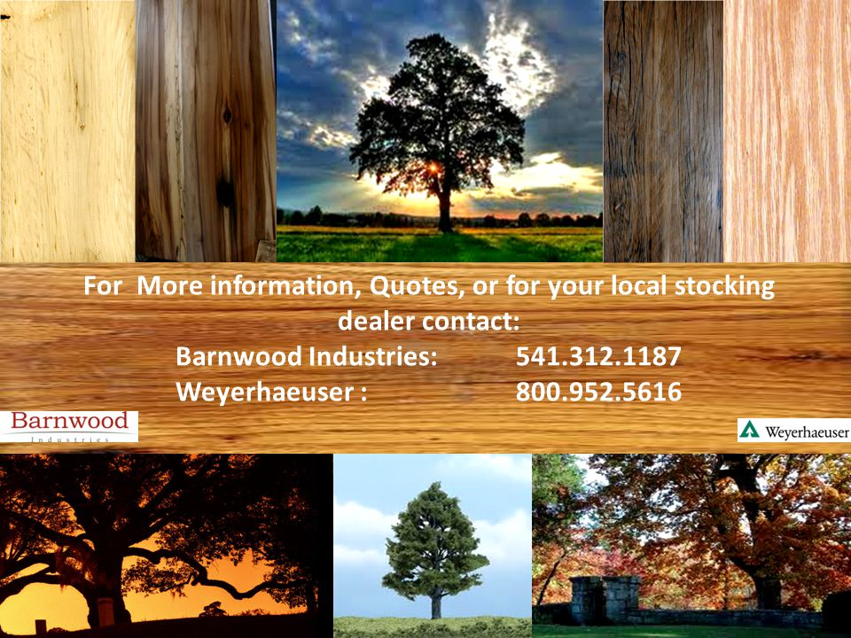 For More information, Quotes, or for your local stocking dealer contact: Barnwood Industries:541.312.1187 Weyerhaeuser :800.952.5616