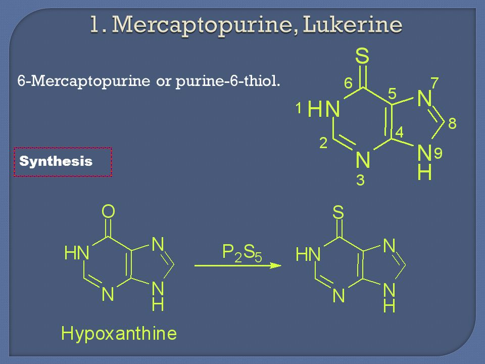 6-Mercaptopurine or purine-6-thiol. Synthesis