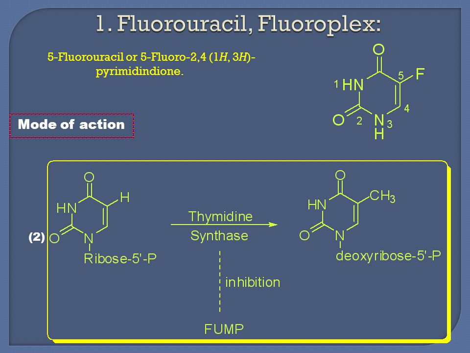 5-Fluorouracil or 5-Fluoro-2,4 (1H, 3H)- pyrimidindione. Mode of action (2)