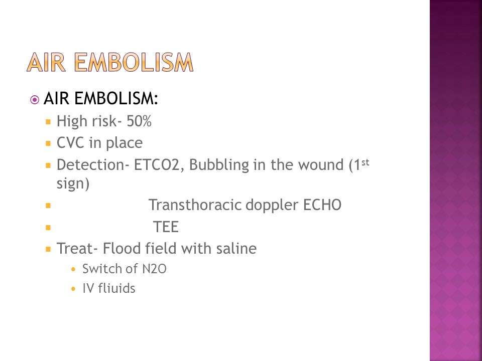  AIR EMBOLISM:  High risk- 50%  CVC in place  Detection- ETCO2, Bubbling in the wound (1 st sign)  Transthoracic doppler ECHO  TEE  Treat- Flood field with saline Switch of N2O IV fliuids
