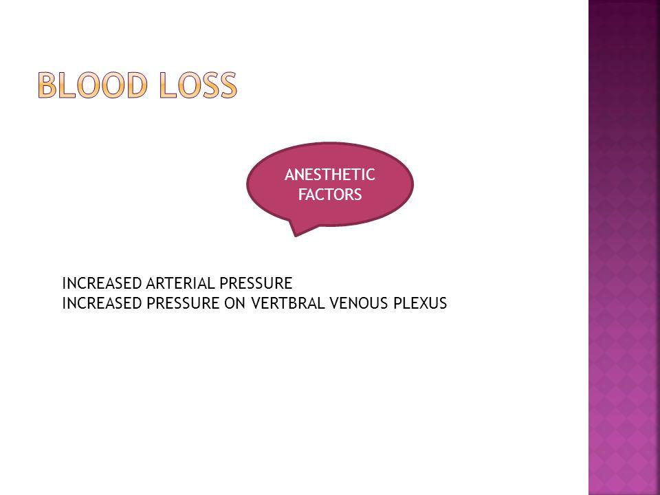 ANESTHETIC FACTORS INCREASED ARTERIAL PRESSURE INCREASED PRESSURE ON VERTBRAL VENOUS PLEXUS