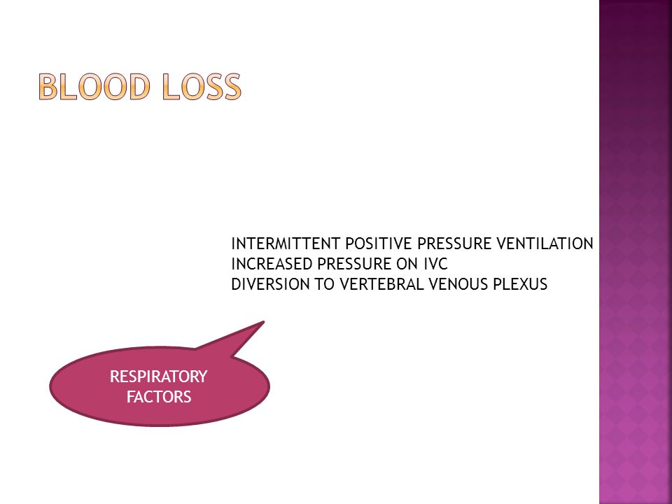 RESPIRATORY FACTORS INTERMITTENT POSITIVE PRESSURE VENTILATION INCREASED PRESSURE ON IVC DIVERSION TO VERTEBRAL VENOUS PLEXUS