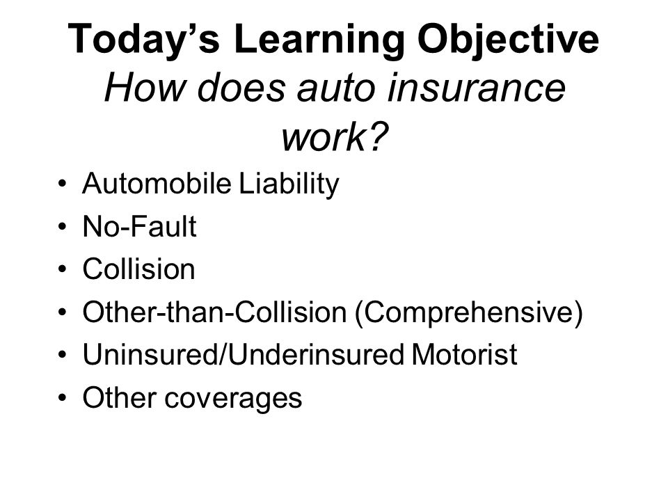 Today's Learning Objective How does auto insurance work.